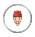 Turkish man icon in cartoon style isolated on vector image