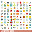 100 graph icons set flat style vector image