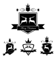 Set of emblem with deer in retro vintage style vector image