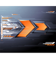 Abstract futuristic background with orange arrows vector image
