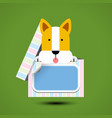 dog sits in box for gift with sticker vector image vector image
