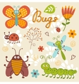 Cute collection of happy little bugs vector image