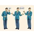 set of businessman presentation show welcome vector image