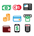 Money ATM - cash machine icons set vector image vector image