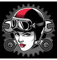 lady biker head vector image