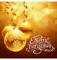 Christmas background with gold balls vector image