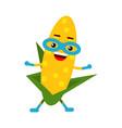 cute cartoon smiling corncob superhero in mask vector image