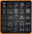 Education hand-drawn icons on blackboard vector image