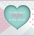 green paper cuted heart on white pink and green vector image