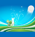 man driving a golf ball on a blue a green vector image