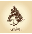 teddy bear and christmas tree vector image