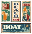 Vintage summer holiday signs vector image