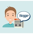 man cartoon blogger web vector image