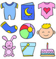 set of baby element various vector image