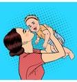 Happy Mother Kissing Her Smiling Baby Boy Pop Art vector image vector image