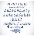 Blue Watercolor Alphabet Hand Drawn Font vector image