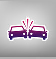 crashed cars sign purple gradient icon on vector image