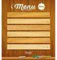 Menu wood board with pastel color design vector image