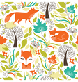 Seamless pattern with a foxes vector image