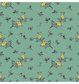 seamless pattern yellow flower green vector image