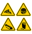Set Warning sign fast food Dangerous foods vector image