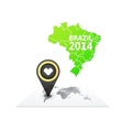 World map with a marker on Brazil vector image