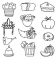 Collection stock of thanksgiving set doodles vector image