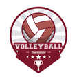 volleyball sport tournament stamp label vector image