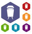 litter waste bin icons set hexagon vector image