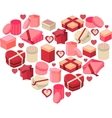 Stylized pink heart made of hearts vector image