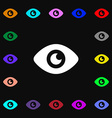 Eye Publish content icon sign Lots of colorful vector image