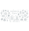 Wedding plans thin line flat background vector image
