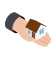 House in hand 3d isometric icon vector image