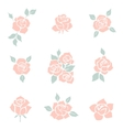 Flower icon Set of decorative rose silhouettes vector image