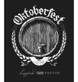 Oktoberfest lettering with wooden barrel vector image