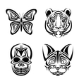 skull butterfly tiger cat tattoo design vector image