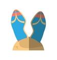 cartoon blue flip flop sand beach vector image