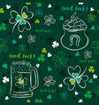 green seamless background for patricks day with vector image
