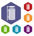 public trash can icons set hexagon vector image
