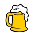 Tankard overflowing with frothy beer vector image vector image