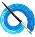 paintbrush with blue brush stroke vector image