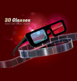 3d glasses movie cinema object vector image