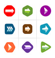 Arrow icons set Flat color with rounded corner vector image vector image