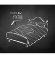 Chalkboard drawing of bed vector image