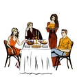 Thanksgiving or Christmas dinner vector image