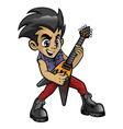 little rocker boy playing an electric guitar vector image