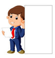 businessman holding blank white sign vector image