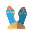 cartoon blue flip flop sand beach vector image