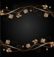 Copper flowers with shadow on dark background vector image