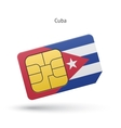 Cuba mobile phone sim card with flag vector image